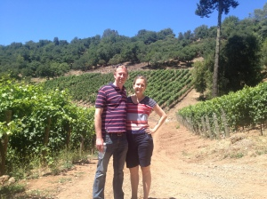 me with my boyfriend Jake in the vineyards at Arkenstone